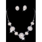 Wholesale - Gorgeous Shining Alloy With Imitation Pear Wedding Bridal Necklace and Earrings Jewelry Set