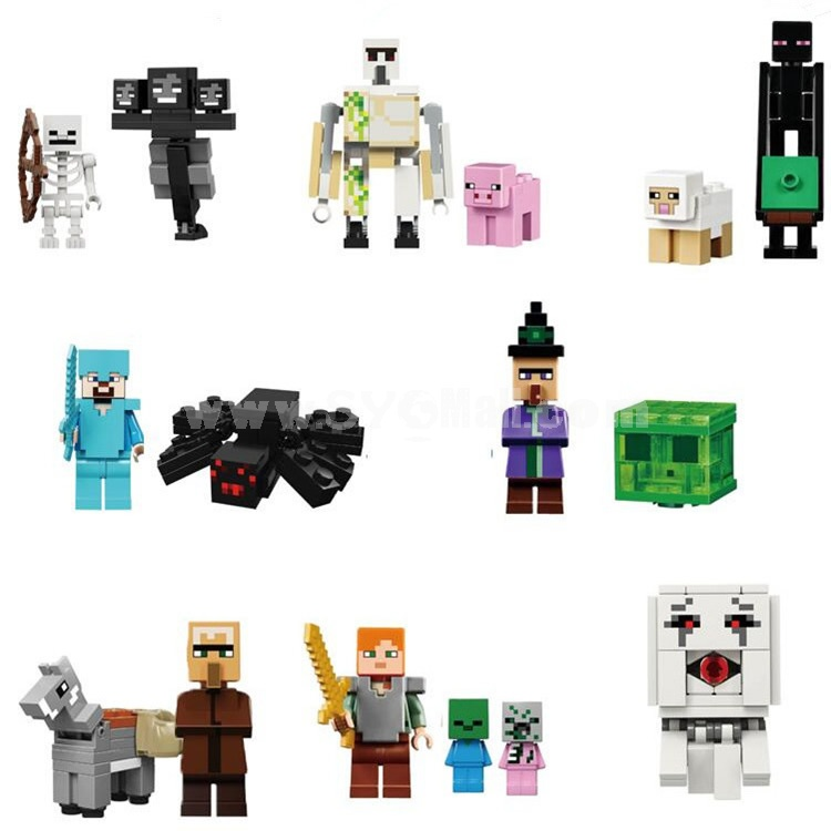 16Pcs MineCraft Lego Compatible Block Mini Figure Toys 81077