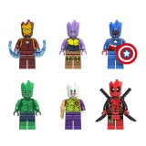 wholesale - Superhero Groot Iron Man Thanos Lego Compatible Block Mini Figure Toys 6Pcs Set