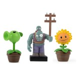 wholesale - Plants vs Zombies Action Figure Toys with Stamps 3-in-1 Set in Gift Box