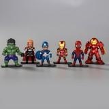 wholesale - 6Pcs Marvel The Avengers Super Heroes Action Figures Captain America Iron Man 9.5cm/3.7Inch