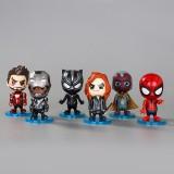 wholesale - 6Pcs Marvel The Avengers Super Heroes Action Figures Batman Iron Man Swing Heads 10.5cm/4Inch
