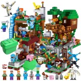 wholesale - Minecraft Lego Compatible Jungle Tree House Fortress Building Blocks Mini Figures Toys Set 2188Pcs in Bucket A0002