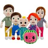 Wholesale - 6Pcs Set Cocomelon JJ Watermelon Plush Toys Stuffed Dolls Family Character Toys 20-35cm/8-13.8Inch Tall
