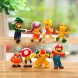 wholesale - 8Pcs Super Mario Action Figures Mini PVC Toys 2.5-5cm/1-2Inch Tall