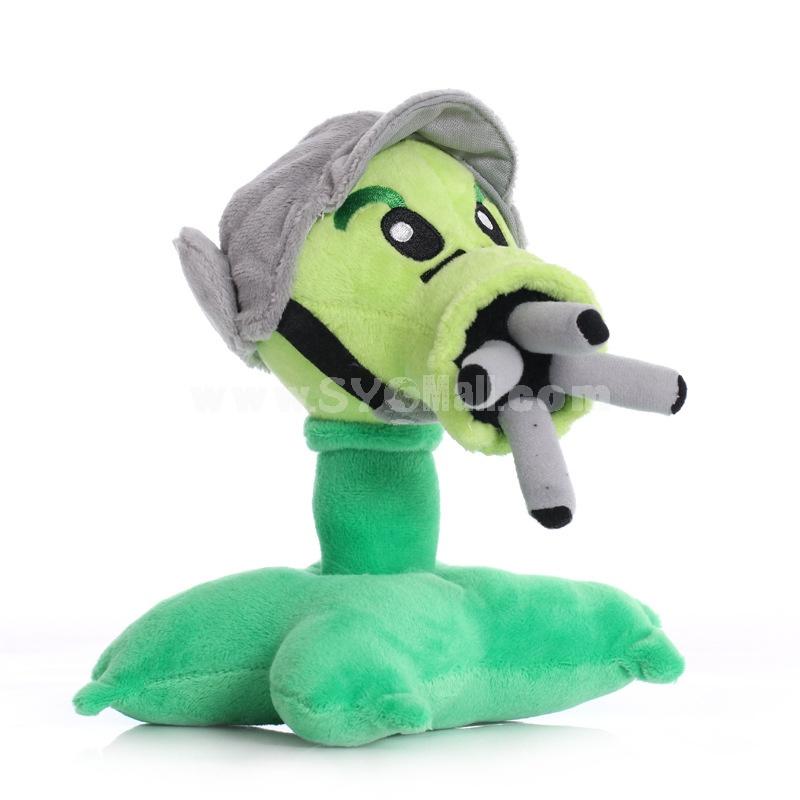 Plants vs Zombies Gatlin Peashooter Plush Toy Stuffed Doll 17cm/6.7inch