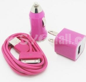 Car Vehicle Charger+ USB Data Charger Cable Cord + Wall Charger Adaptor for iPodTouch iPhone 4 4G 4S 3G 3GS-Green-Peach Red