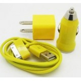 Wholesale - Car Charger+ USB Data Charger Cable + Wall Charger Adaptor for iPod/iTouch/iPhone Series -Yellow