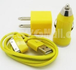 Car Vehicle Charger+ USB Data Charger Cable Cord + Wall Charger Adaptor for iPodTouch iPhone 4 4G 4S 3G 3GS-Yellow