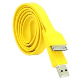 Wholesale - 105cm/41.34inch Flat Noodle USB Silicone Cable for iPhone/iPod/iPad - Yellow