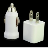 Wholesale - USA USB Power and Car Adapter, Charger and Cable for iPhone/iPad/iPod-White