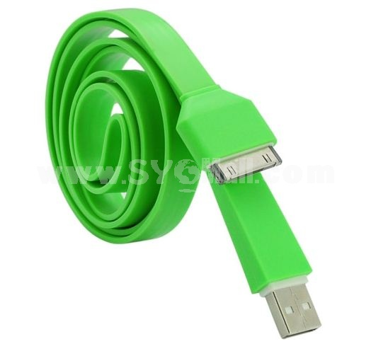 105cm/41.34inch Length USB Plug Silicone Charging Cable of Noodle Design for iPhone/iPod/iPad-Green