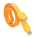 Wholesale - 105cm/41.34inch Flat Noodle USB Silicone Cable for iPhone/iPod/iPad - Orange