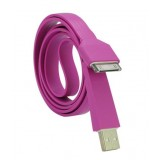 Wholesale - 105cm/41.34inch Flat Noodle USB Silicone Cable for iPhone/iPod/iPad - Purple