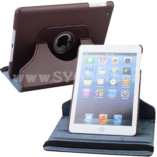 New Leather 360° Rotatable Stand Protective Cover Case for iPad Mini-Dark Brown