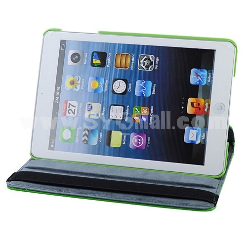 New Leather 360° Rotatable Stand Protective Cover Case for iPad Mini-Green