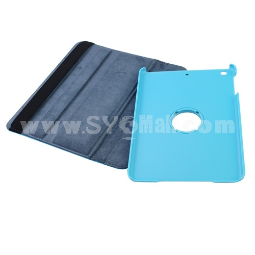 New Leather 360° Rotatable Stand Protective Cover Case for iPad Mini-Blue