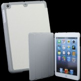 Wholesale - PU Leather+ Hard Plastic(Beside) Standing Stand Protection Cover Case for iPad Mini - White