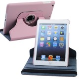 Wholesale - Leather 360 Degree Rotatable Stand Protective Cover Case for iPad Mini-Pink
