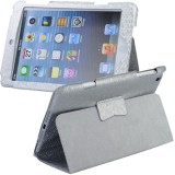 Wholesale - Soft PU Leather Case Protective Cover Pounch Stand for iPad Mini - Silvery
