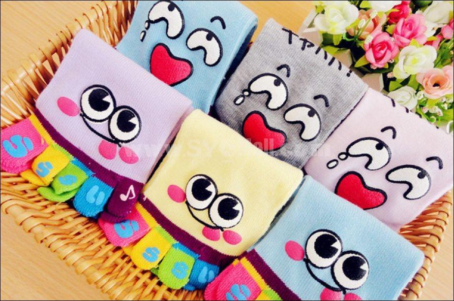 Cute cartoon face toe socks