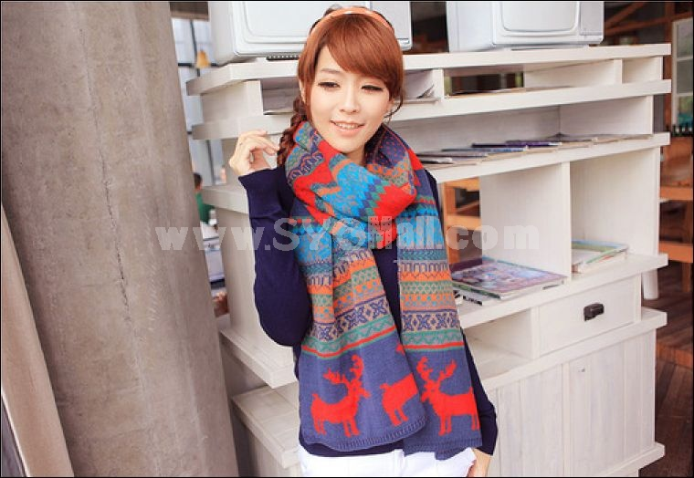 Fashion thick Bohemian style fawn printed women's scarf