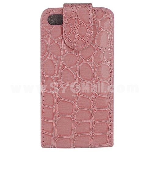 Leopard PU Leather Flip Case Cover Pouch For Apple iPhone 4 4G/4S-Pink