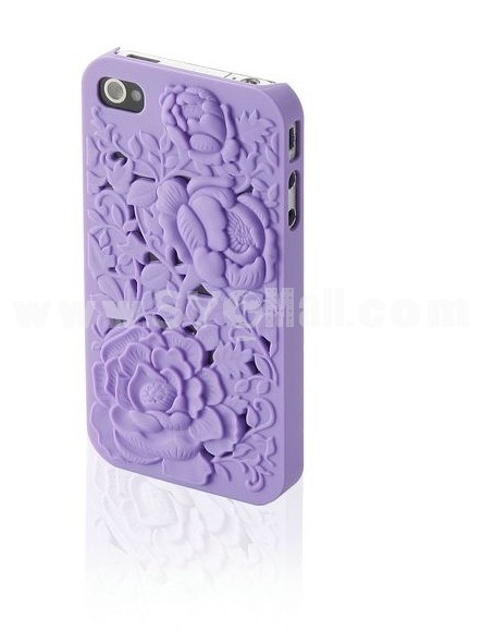 Stylish Rose Decorated PC Hard Plastic Back Cover Back Protector for iPhone4/4S-Purple