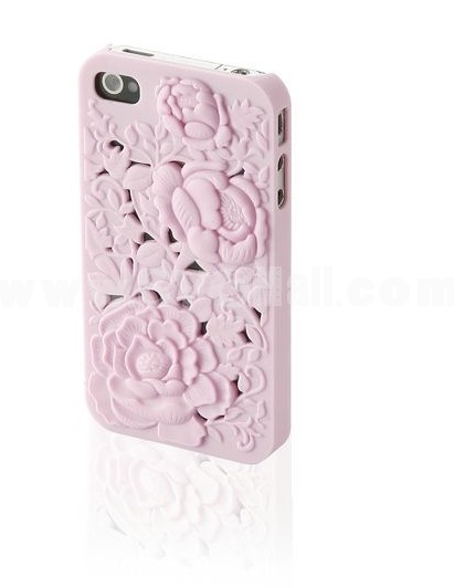 Stylish Rose Decorated PC Hard Plastic Back Cover Back Protector for iPhone4/4S-Pink