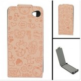 Wholesale - Magic Girl Series Leather Cover Case with Magnet Buckle for iPhone 4/4S-Light brown