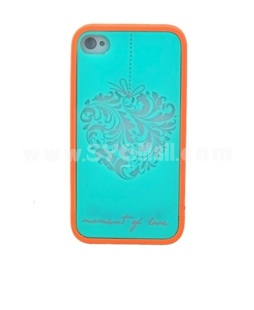 Protective and Simple Mobile Case with Heart Figure Covered with High Grade Paper Case for iPhone 4/4S-Sky blue