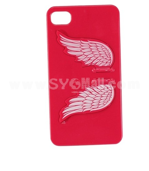 Hard Plastic Angel Back Cover Case Back Protector Phone Stand with an Invisible Screem Protector For iPhone 4G/4S-Red