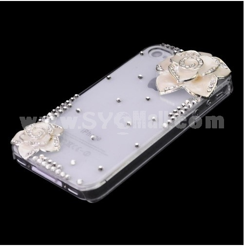 Graceful Hard Plastic Cover Case Protector with Rhinestone Flower Pattern for iPhone 4/4S-White