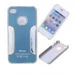 Wholesale - Simple Firm Stainless Steel Back Case Cover for iPhone 4/4S-Dark blue