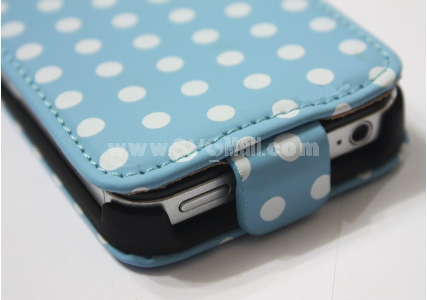 Blue Polka Dot Leather Flip Case Cover Pouch For iPhone 4 4S