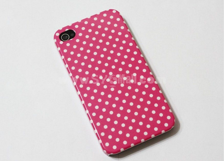 Pink Polka Dot Hard Rubber Case For iPhone 4 / 4S