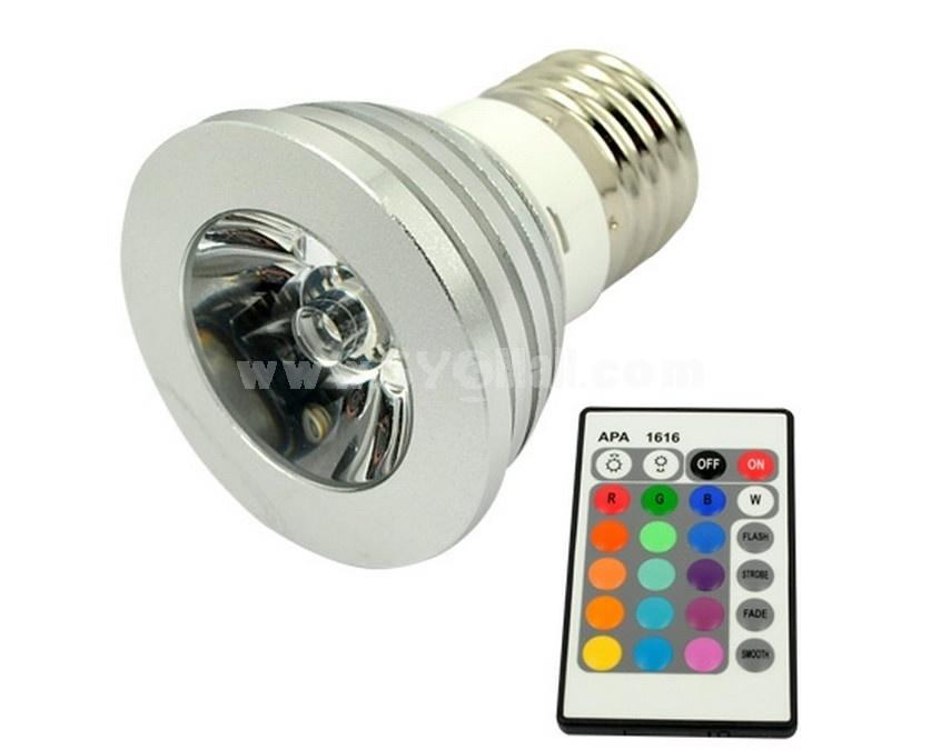 E27 3W Multicolor LED Spotlight Bulb Lamp with Remote Control