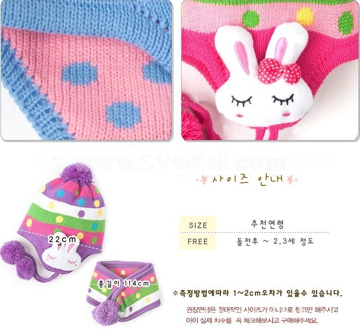 DCH Children Rabbit Dots Earflaps Hats