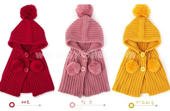 DCH Pompons Single Breasted Wraps Solid Girl Warm Hats