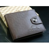 Wholesale - Stylish Leather Rectangle Short Men Wallet with Magnetic Buckle