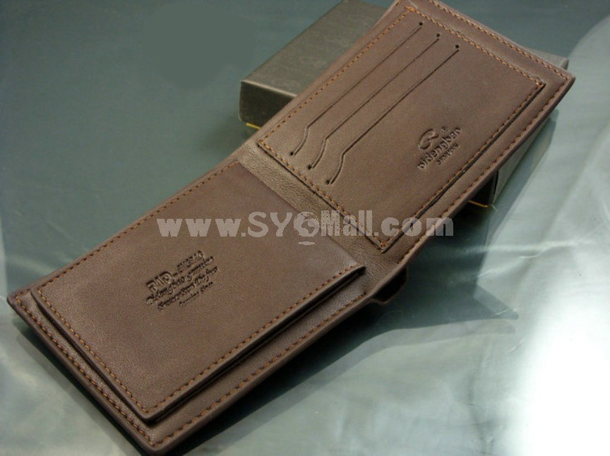 Solid Check Pattern Cow Leather Men Wallet
