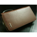 Wholesale - Stylish Long Pattern Cow Leather Zipper Men Wallet