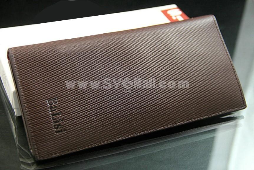 Stylish  Stripe Pattern Cow Leather Bi-fold Men Wallet