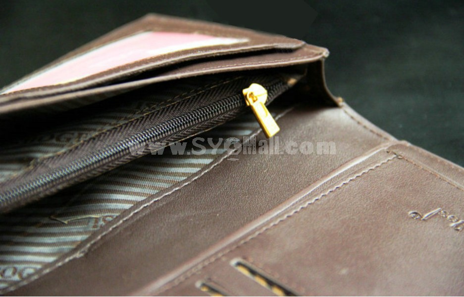 Stylish Leather Rectangle Long Men Wallet with Magnetic Buckle