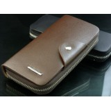 Wholesale - Solid Rectangle Long Style Zipper Men Wallet with Magnetic Buckle