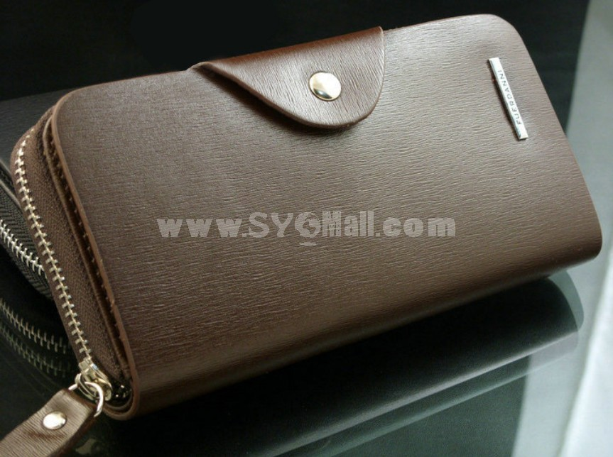 Solid Rectangle Long Style Zipper Men Wallet with Magnetic Buckle