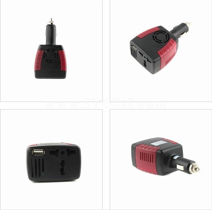 12V DC to 110V/220V AC Car Inverter Charger Adapter 150W with 5V USB Port