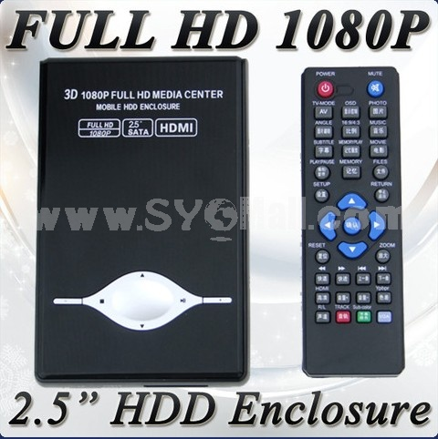 "New 2.5"" Mini Media Player 3D Full HD 1080P HDMI RM-SD USB MKV (Up To 2TB HDD)"