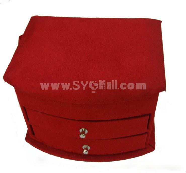 GUANYA Stylish Flannelette Middle-sized Fan-shaped Jewel Box (655-A8)