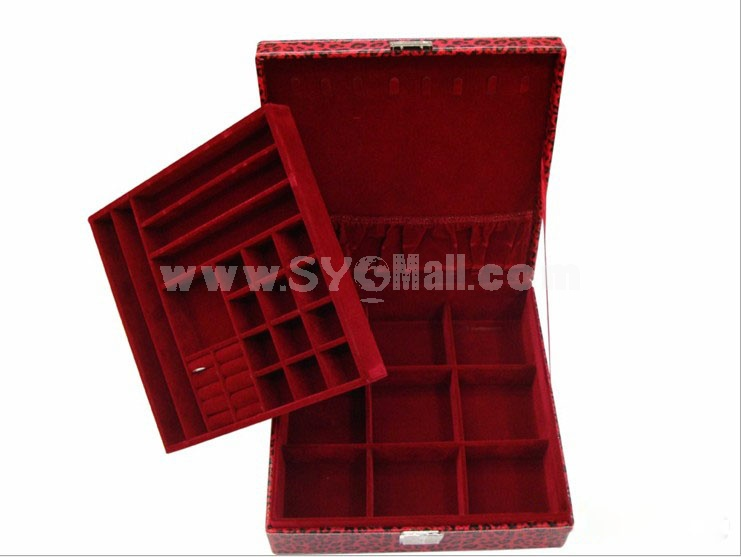 GUANYA Square Leopard Leather Jewel Box (641-3)